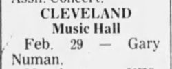 Gary Numan Cleveland Music Hall Newspaper Clipping 1980